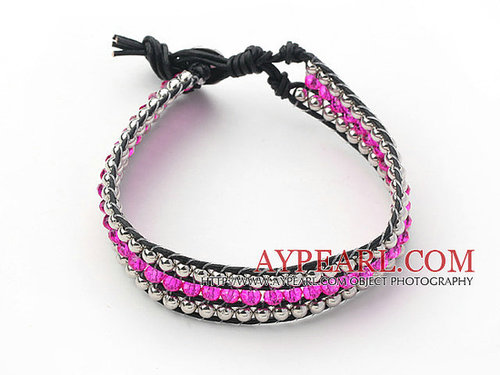 Hot Pink Crystal and Silver Color Beads Woven Bracelet with Black Leather Cord