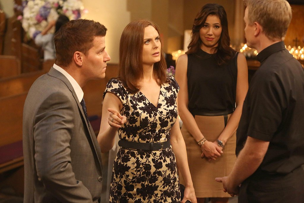 Booth (David Boreanaz) and Brennan (Emily Deschanel) rehearse their nuptials.