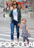 Sarah Jessica Parker held hands with Tabitha while walking with her girls in the morning.