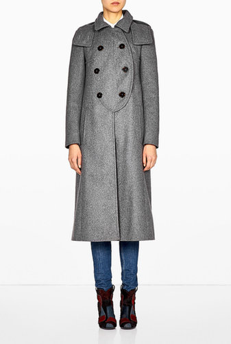 Carven Long Wool Double Breasted Coat With Hood