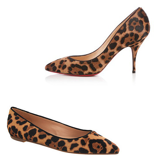 Above: Christian Louboutin Piou Piou Animal-Print Pumps ($795) Below: J.Crew Collection Viv Calf-Hair Flats  ($298)