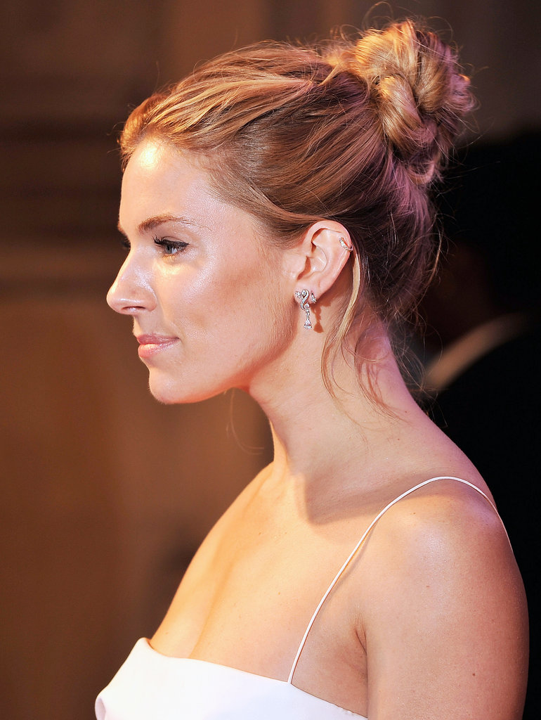 Here's a side view of Sienna's twisted midheight bun.