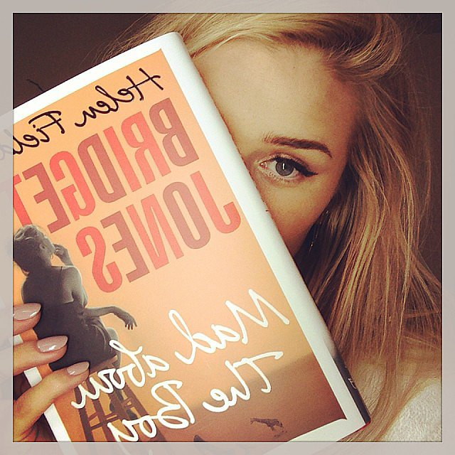 Rosie Huntington-Whiteley curled up with the new Bridget Jones book. Source: Instagram user rosiehw