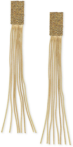 GUESS Earrings, Gold-Tone Pave Stone and Chain Tassel Earrings