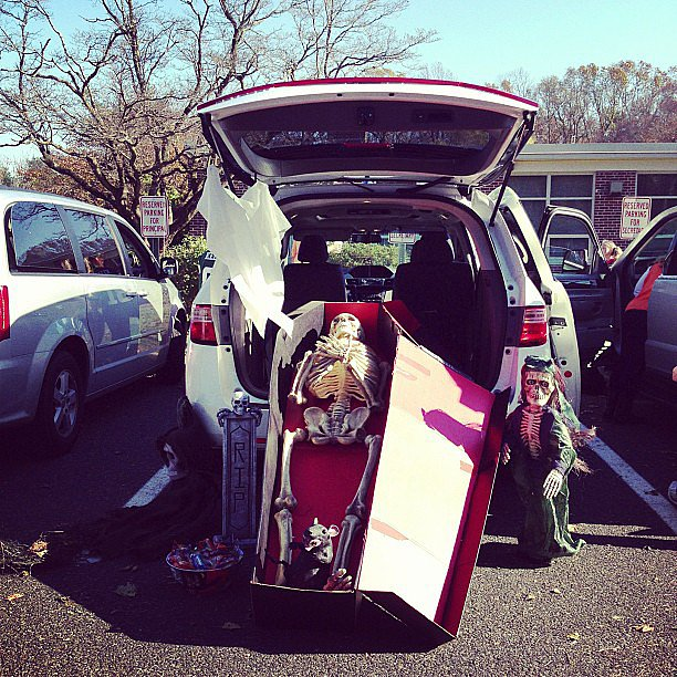 Nothing says Halloween like a skeleton in a trunk.  Source: Instagram user margueriteville