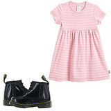 Toughen up a girlie pink dress ($18-$24) with black Dr. Martens ($65), and she'll be the playground's best-dressed.