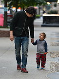 Orlando Bloom and Flynn held hands during a Manhattan stroll in October 2013.