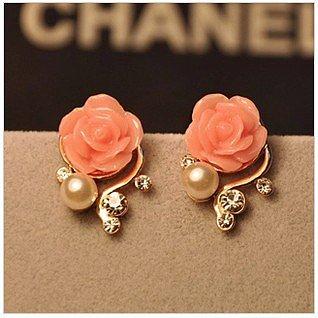 [grhmf2300029]Bohemia Style Rhinestone Rose Earrings