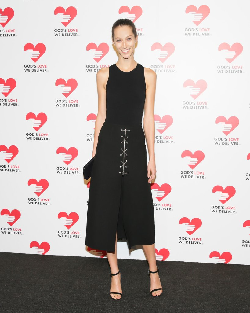Alana Zimmer paired Michael Kors's bodysuit and python sandals at the God's Love We Deliver annual event.