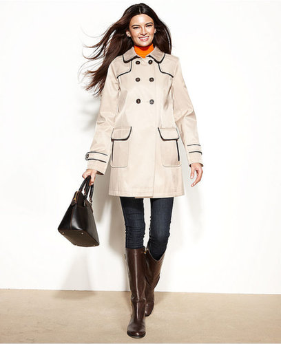 DKNY Coat, Double-Breasted Faux-Leather-Trim Swing Trench