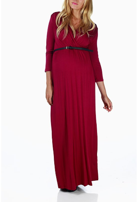 You'll definitely keep warm and comfy during more formal events this season with this pretty long-sleeved magenta dress ($40, originally $58) cinched with a belt.