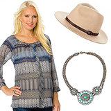 Get a similar Zoe-approved look with a detailed billowy blouse ($80) in pretty blues and grays. Don't forget to accessorize with a wool panama hat ($50) and a chunky statement necklace ($30)!