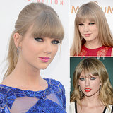 Who: Taylor Swift The look: Straight-across bangs and heavy eyeliner Taylor Swift used to be known for her red lipstick, but the singer seems to be switching things up. She now opts for more intense eye looks to balance out her bangs.