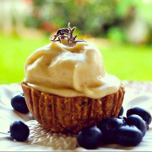 "Raw Vegan Lavender Cupcakes with Vanilla ""Frosting"""