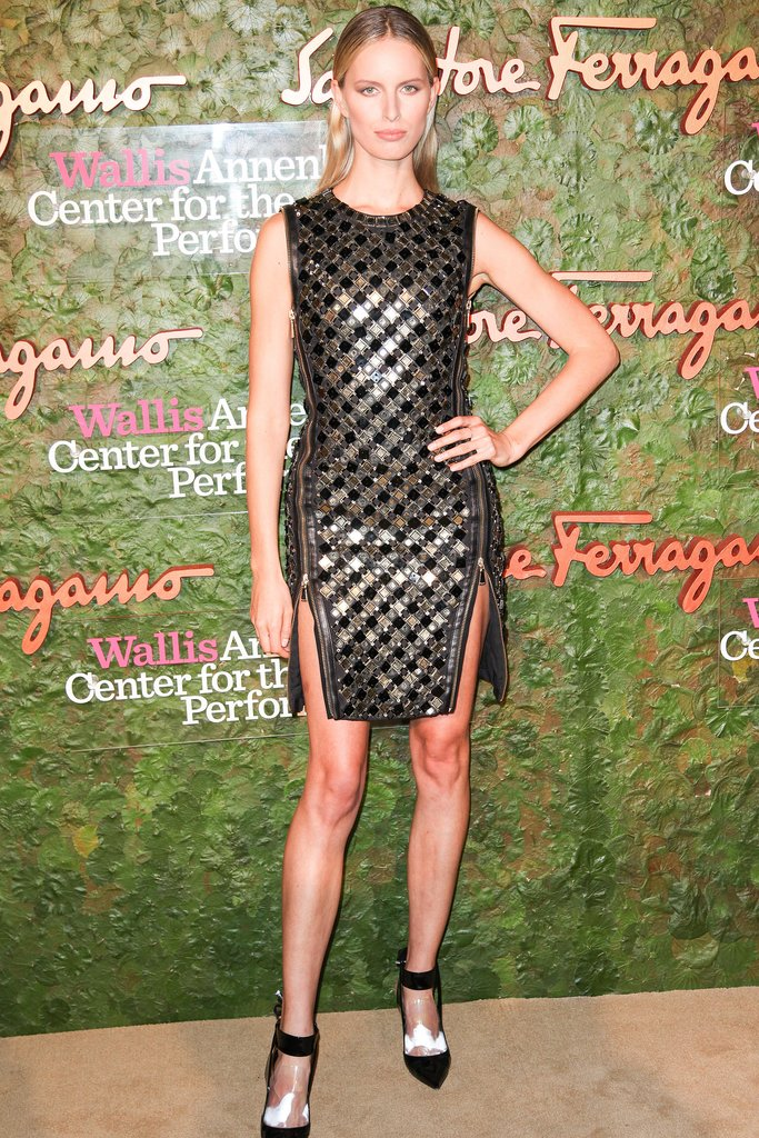 Karolina Kurkova made a bold entrance in black and gold at the Beverly Hills Ferragamo fete.