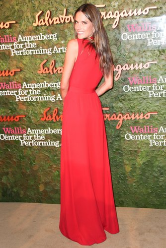 Alessandra Ambrosio was red hot in a sleek gown at the Salvatore Ferragamo Inaugural Gala of the Wallis Annenberg Center for the Performing Arts in Beverly Hills.