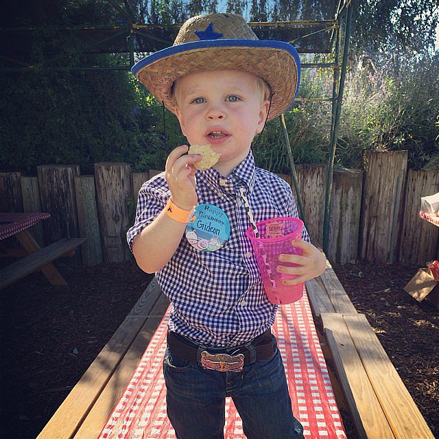 Gideon Burtka-Harris looked like a riding cowboy at his third birthday celebration. Source: Instagram user instagranph