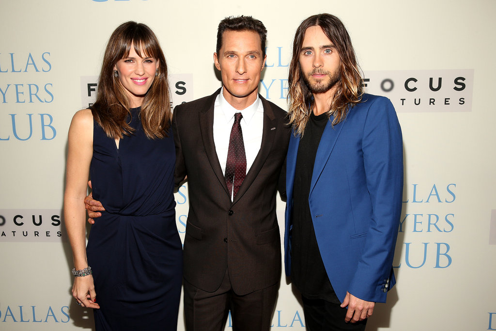 Costars Jennifer Garner, Matthew McConaughey, and Jared Leto posed together at the Dallas Buyers Club premiere.