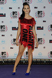 Perry had just the ticket for the 2012 MTV Europe Music Awards, in this red and black Jeremy Scott sparkler and brilliant blue Sergio Rossi slingbacks.