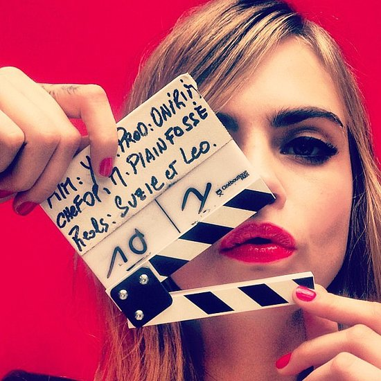 Cara Delevingne put her gorgeous red lips on film.  Source: Instagram user caradelevingne
