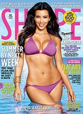 Kim Kardashian graced the June 2010 cover of Shape magazine in a tiny purple two-piece.