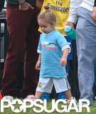 Harper Beckham sported a little topknot while playing soccer in LA.