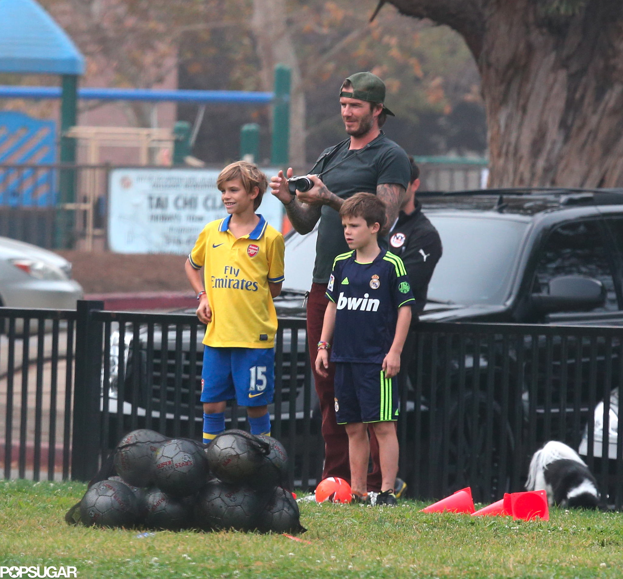 David Beckham was joined on the sidelines by his sons, Brooklyn, Romeo, and Cruz.