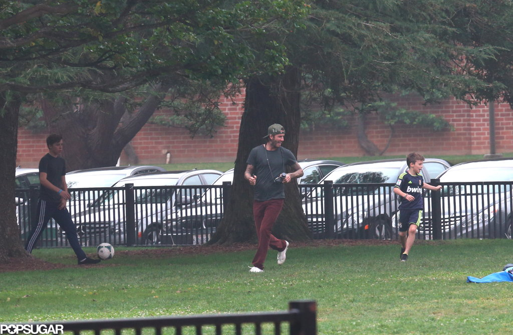 David Beckham and his boys played soccer together after Harper scored a goal.