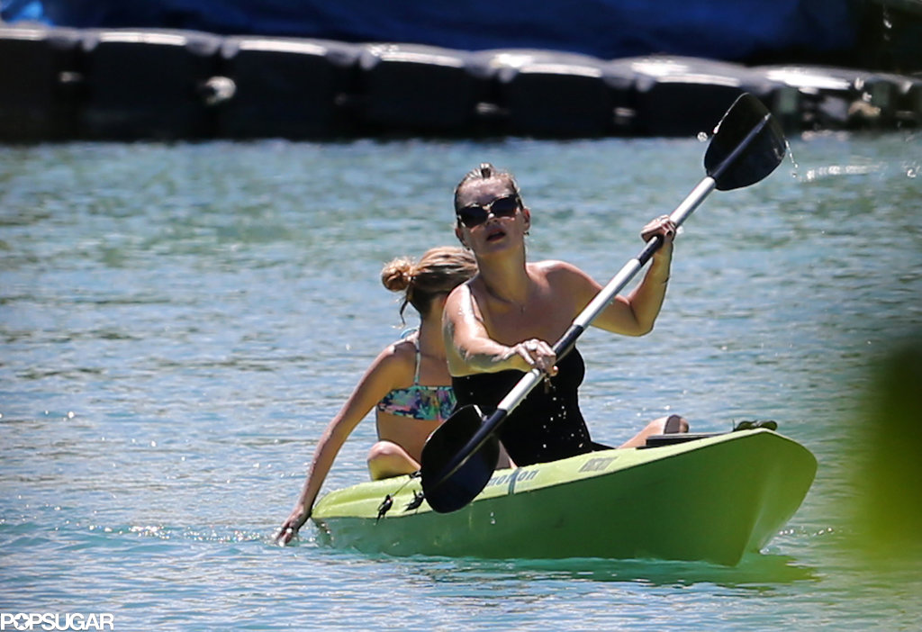 Kate Moss went kayaking with her daughter, Lila Grace Hack.