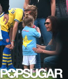 Harper Beckham went over to her mom, Victoria Beckham, after celebrating her soccer goal.