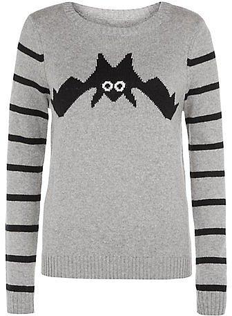 Grey Bat Stripe Sleeve Jumper