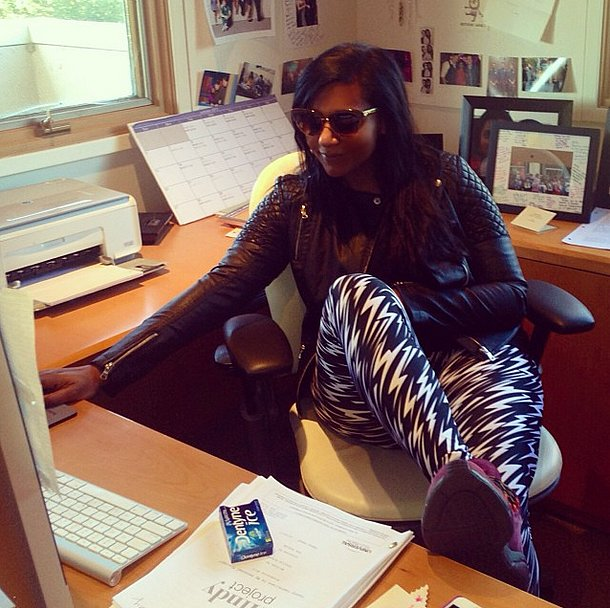 Mindy Kaling gave a shout out to I Heart Ronson in her quilted moto jacket. Source: Instagram user mindykaling