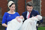 Crown Princess Mary and Crown Prince Frederik of Denmark held their twins, Prince Vincent and Princess Josephine, after their christening at Holmens Kirke in Copenhagen on April 14, 2011.