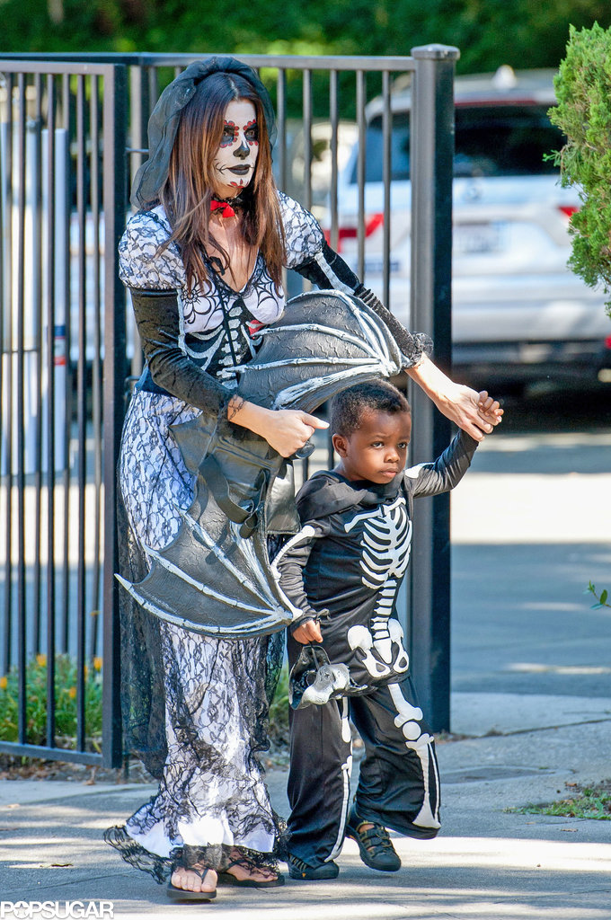 Sandra Bullock got into the Halloween spirit with her son, Louis, in LA.