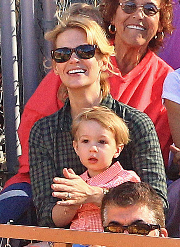January Jones and her son, Xander, spent an afternoon at Underwood Family Farms in LA.