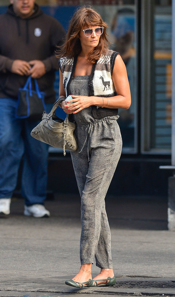 Helena Christensen showed off a printed jumpsuit and a cozy cropped vest — not to mention an adorable Balenciaga mini bag — during a day out in NYC.