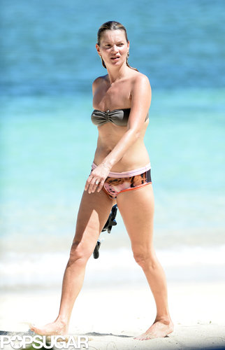 Kate Moss rocked a mismatched bikini while taking a dip in the ocean in Jamaica in October.