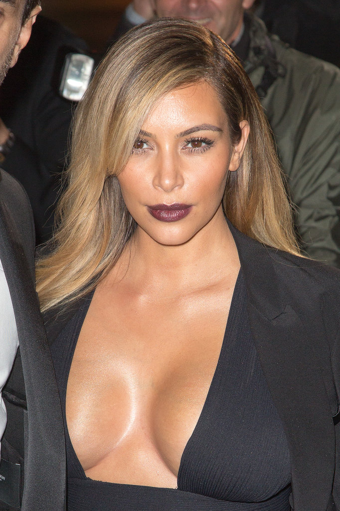 Kim's berry lip and deep side part were supersexy at the premiere of Mademoiselle C in Paris.