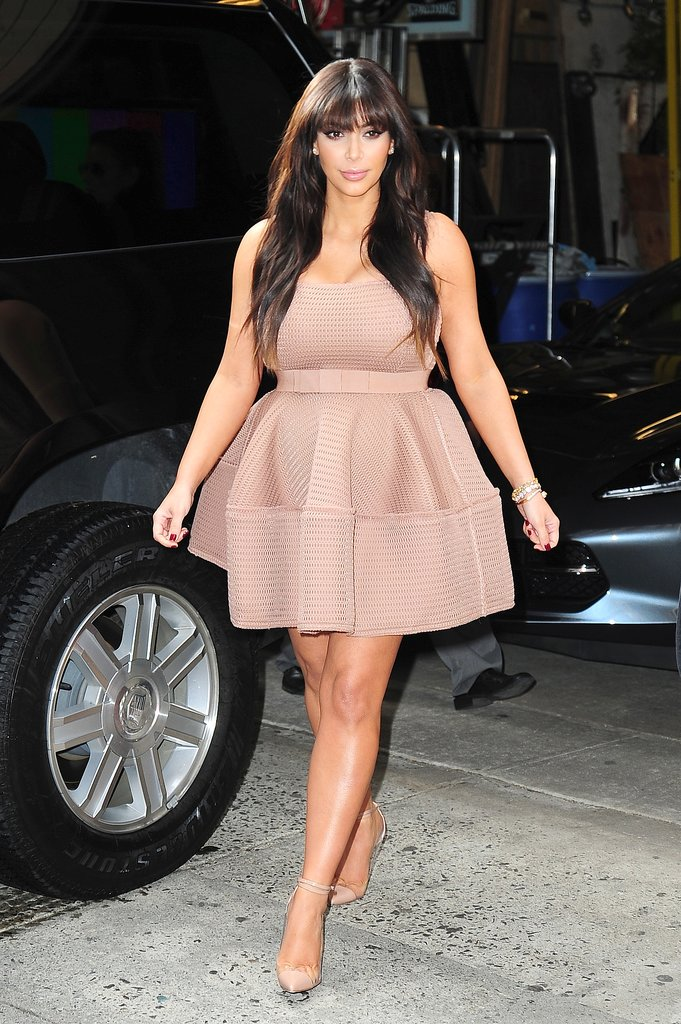 Not afraid to add volume to her silhouette, Kim dared to look pretty in Lanvin's pink mini.