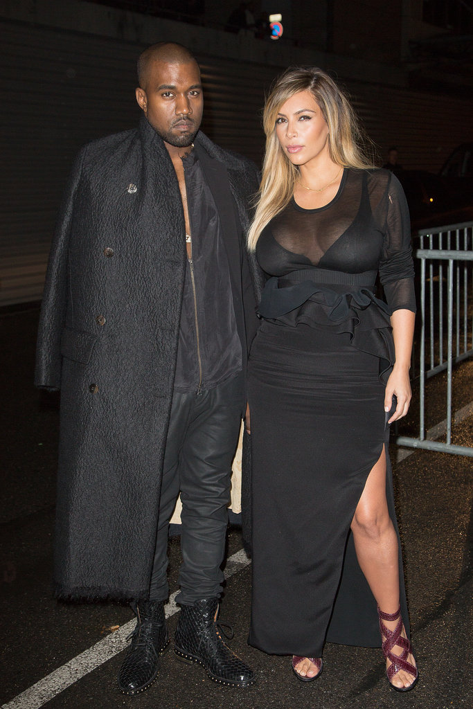 Debuting her postbaby body, Kim joined Kanye at Paris Fashion Week in a smoldering Givenchy style.