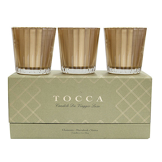 Three candles are encased in Tocca's Holiday Candle Gift Set ($55), and each one boasts a luxe gilded container and a warm seasonal scent.