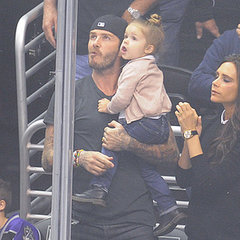 Beckham Family Watching LA Kings Hockey Game
