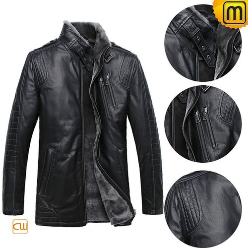 Mens Black Fur Lined Shearling Sheepskin Jacket CW877328