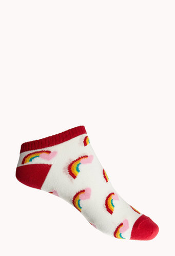 FOREVER 21 Over-the-Rainbow Ankle Socks