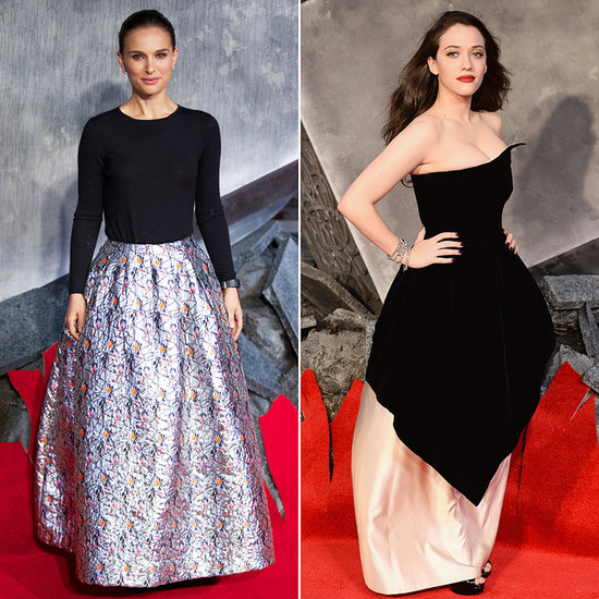 Natalie Portman and Kat Dennings Dresses at Thor 2 Premiere