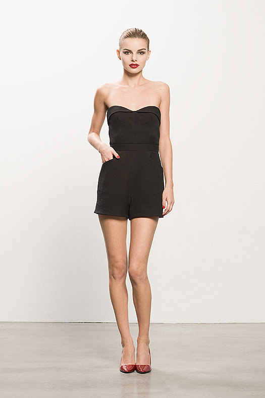 Pique Black Strapless Romper ($695), Heaven Red Patent Pump ($495) Photo courtesy of Tamara Mellon