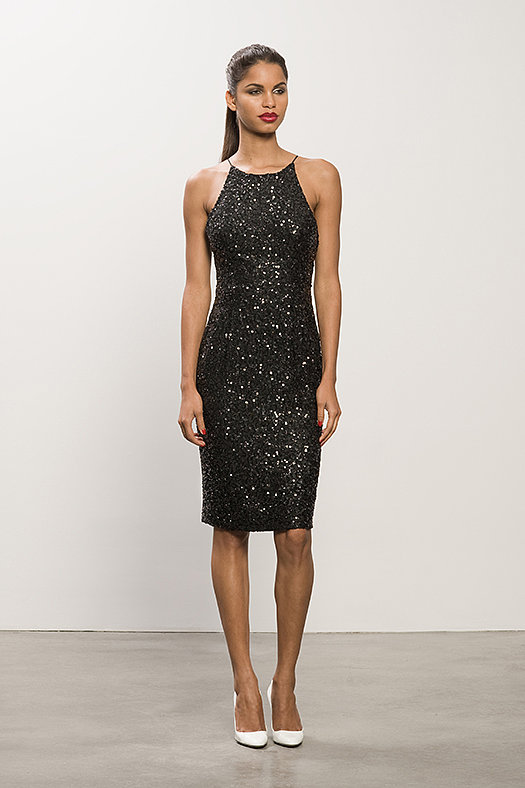 Sequin Black Dress ($1,495), Heaven White Patent Pump ($495)