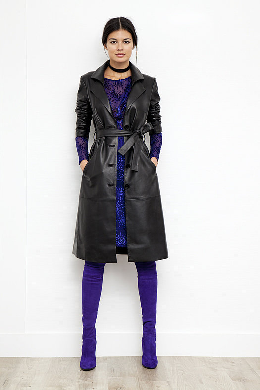 Leather Trench Coat in Black ($2,495), Starburst Devore Velvet Dress in Electric Blue ($895), Sweet Revenge Stretch Suede Legging Boot in Purple ($2,395) Photo courtesy of Tamara Mellon