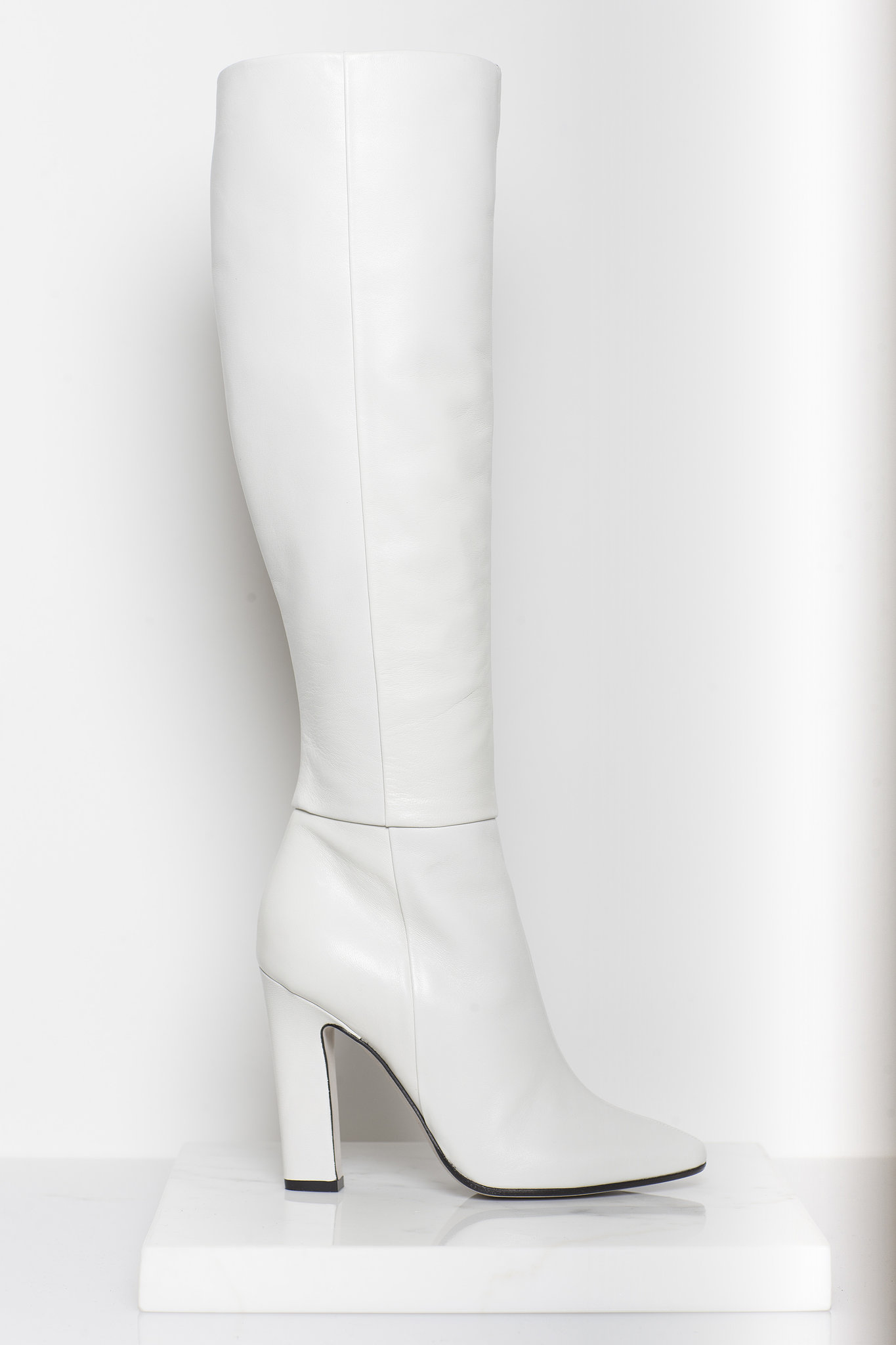 Why Not Nappa Knee High Boot in Cream ($1,295) Photo courtesy of Tamara Mellon