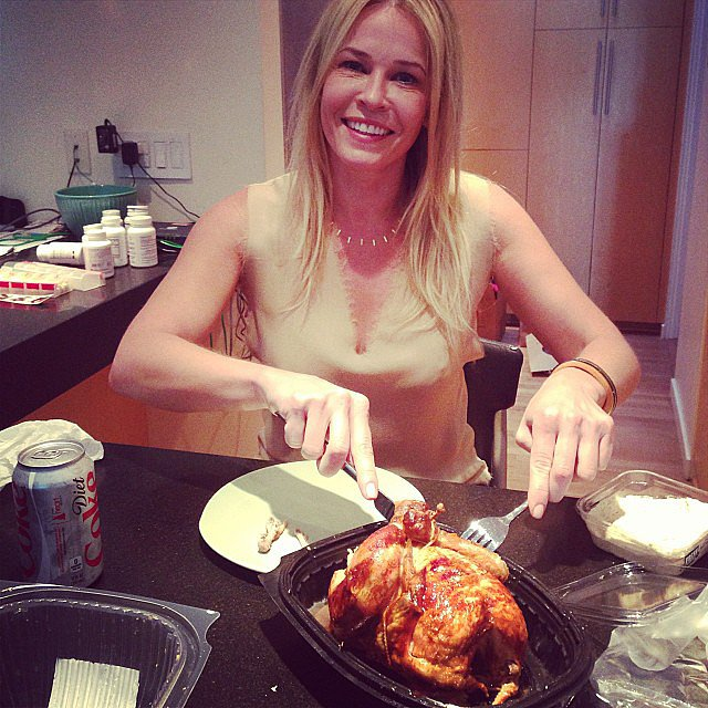 Chelsea Handler dug into a rotisserie chicken. Source: Instagram user whitneyacummings
